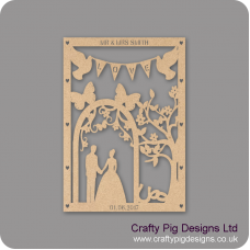 3mm MDF Personalised Wedding Plaque - With Plain Arch Personalised and Bespoke