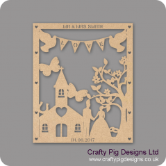 3mm MDF Personalised Wedding Plaque -woth Chapel/Church