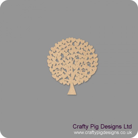 3mm MDF Rounded Wedding Heart Tree Guest Book 50cm x 50cm (welded hearts) Trees Freestanding, Flat & Kits