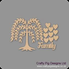 3mm MDF Willow Tree Family Tree Pack Kit Standard Hearts Trees Freestanding, Flat & Kits