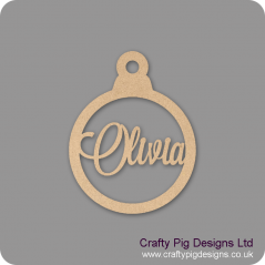 3mm Christmas Bauble - Any Wording/Names - Personalised - Olivia Font