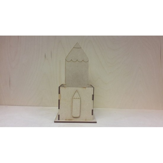 3mm MDF Pencil Pot (with large pencil on back piece and stick on pencil for front)