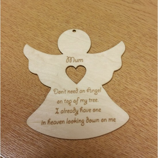 2mm Plywood Christmas Angel Engraved With Verse - Personalised Christmas Shapes