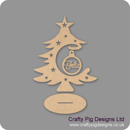 3mm MDF Personalised Bauble and Tree on Stand Christmas Shapes