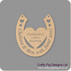 3mm MDF Horseshoe With Names Date And Heart Attached Personalised and Bespoke