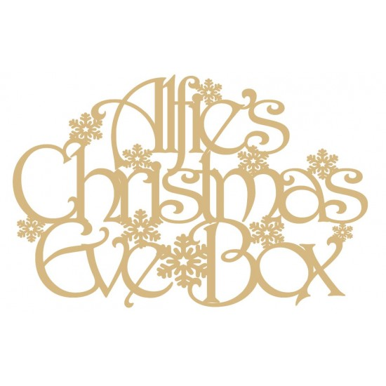 3mm MDF Square Personalised Christmas Eve Box Topper  with snowflakes Personalised and Bespoke