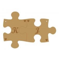 3mm MDF Personalised Interlocking Keyrings - Initials Names and Dates Keys and Keyrings