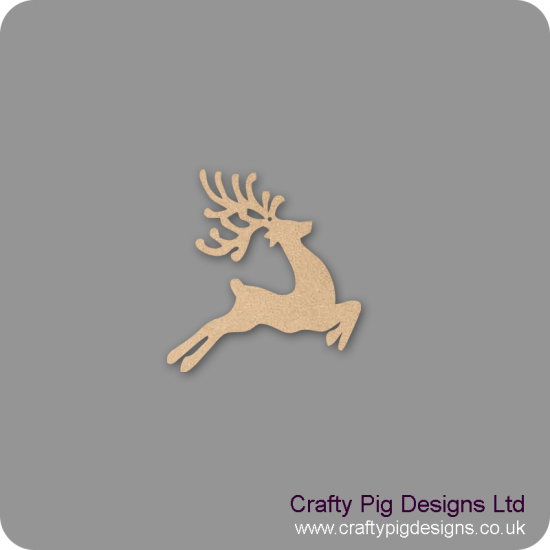 3mm MDF Prancing Reindeer with Antlers (Pack of 5) Christmas Shapes