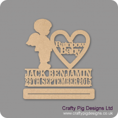 4mm mdf Rainbow Baby Boy With Wings Plinth Double Row Name And Date Baby Shapes