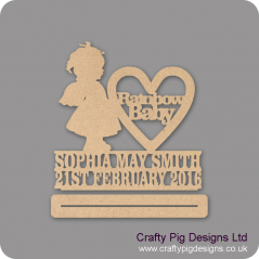4mm mdf Rainbow Baby Girl With Wings Plinth Double Row Name And Date Baby Shapes