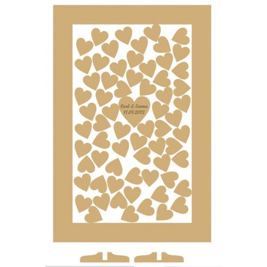 MDF Rectangle Wedding Drop Box 60x39.5cm with Etched Heart