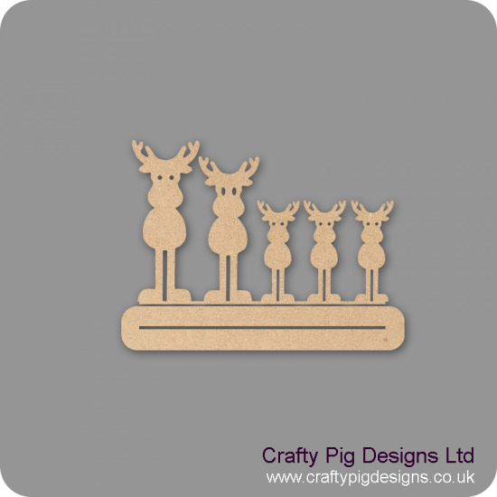 4mm MDF Family Reindeer - Mr and Mrs with three children - Freestanding Christmas Shapes