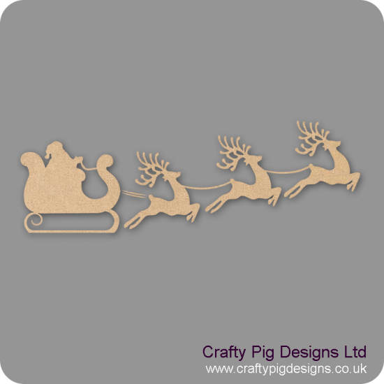 3mm MDF Santa Sleigh and Reindeer for Box Sides Christmas Shapes