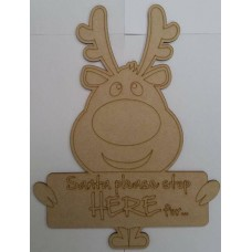 3mm MDF Santa Stop Here Sign with Rudolph Christmas Quotes & Signs