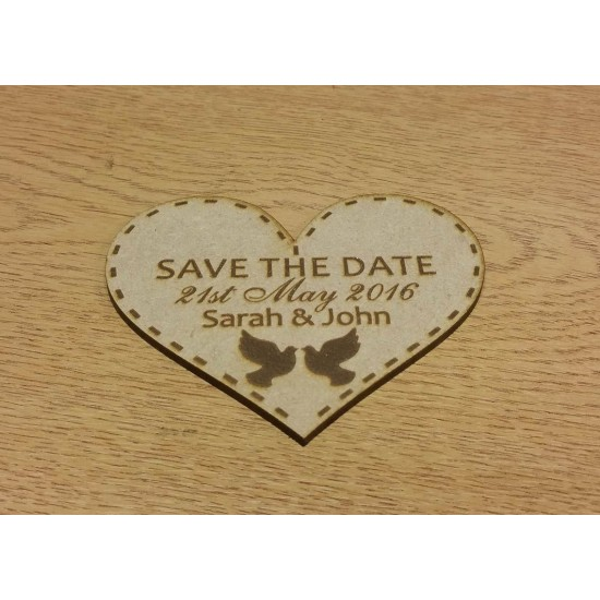 3mm MDF Save The Date Heart With Doves Basic Plaque Shapes