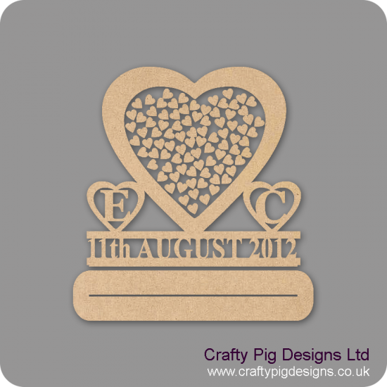 MDF Wedding Heart Shaped Drop Box (personalised with initials and date) Personalised and Bespoke