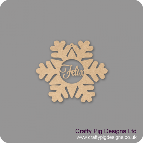 3mm MDF Personalised Snowflake Bauble Personalised and Bespoke