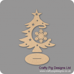 3mm MDF Snowflake Bauble and Tree on Stand