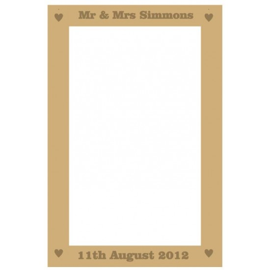 MDF Rectangular Wedding Drop Box 40x28cm (solid etched bold font names and date)
