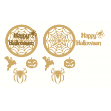 3mm mdf Happy Halloween Dream Catcher -  with shapes Halloween