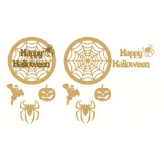 3mm mdf Happy Halloween Dream Catcher -  with shapes