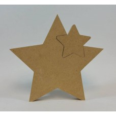 18mm Freestanding Star With 1 Interlocking Star 18mm MDF Interlocking Craft Shapes