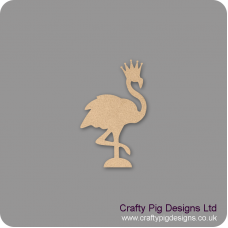 3mm MDF Flamingo With Crown Small MDF Embellishments