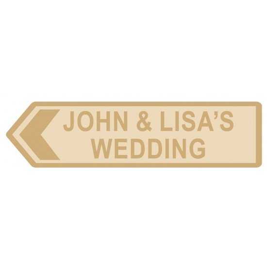 4mm Narrow Road Arrow Wedding Sign Personalised and Bespoke