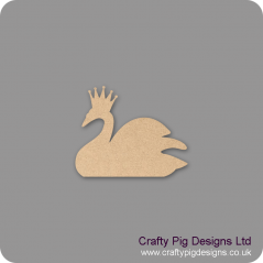 18mm Freestanding Swan with Crown  (by width) 18mm MDF Craft Shapes