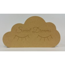 18mm Freestanding Cloud (engraved Sweet Dreams With Lashes) 18mm MDF Signs & Quotes