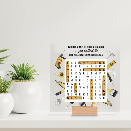 Printed IKEA Ribba or Sannahed Replacement Front Acrylic - Word Search Grandad Design 2021 - Tools Fathers Day