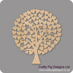 3mm MDF Rounded Wedding Heart Tree Guest Book 50cm x 50cm