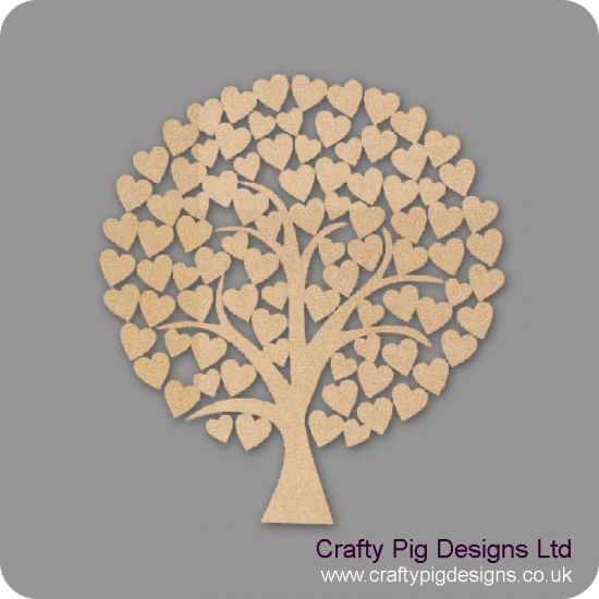 3mm MDF Rounded Wedding Heart Tree Guest Book 50cm x 50cm Trees Freestanding, Flat & Kits