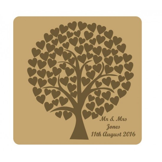 3mm MDF Rounded Wedding Heart Tree Guest Book With Engraved Backboard Trees Freestanding, Flat & Kits