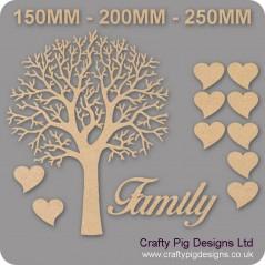 3mm MDF Natural Top Family Tree Kit Romantic Hearts