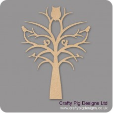 3mm MDF Tree With Owl Squirrels And Birds Trees Freestanding, Flat & Kits