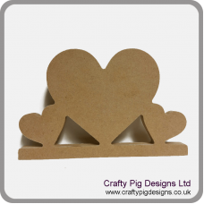 18mm Freestanding Triple Heart on Base 18mm MDF Craft Shapes
