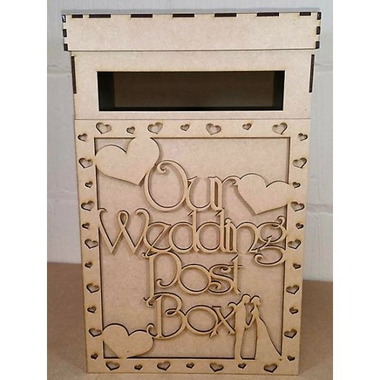 3mm MDF Our Wedding Post Box Front Panel - with heart cut out border