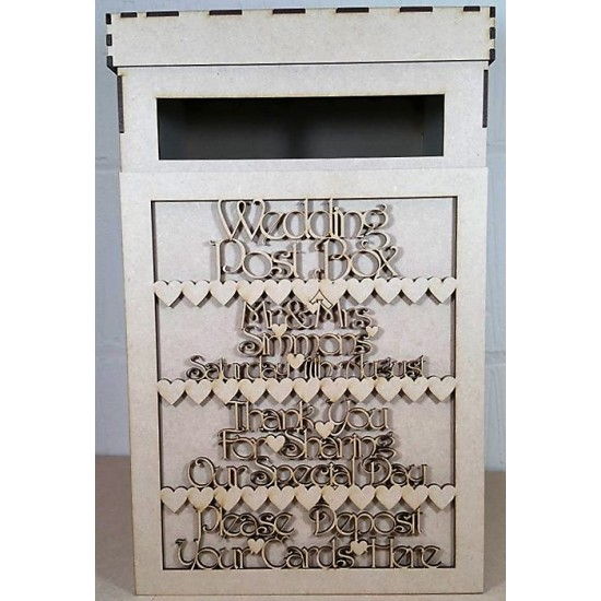 3mm MDF Wedding Post Box Front Panel (personalised with names and date) Personalised and Bespoke