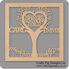 3mm MDF Wedding Tree in frame  - Personalised with Your Names Trees Freestanding, Flat & Kits