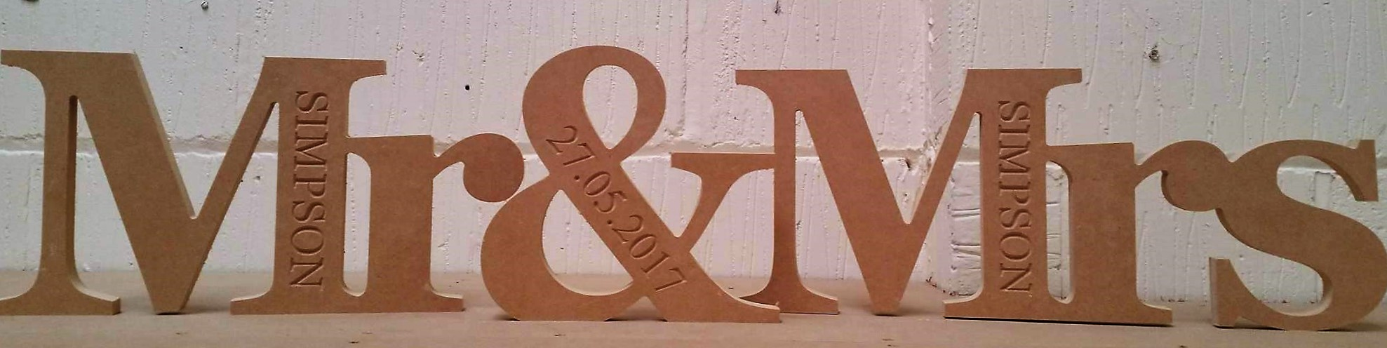 18mm Mr & Mrs Wedding Sign Engraved with Surname and Date (200mm) 18mm MDF Signs & Quotes