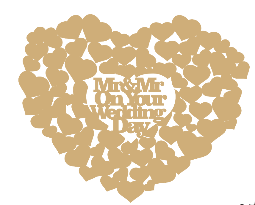 3mm MDF Mr & Mr on your Wedding Day Guest Book Hearts With Words