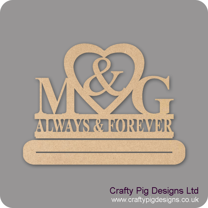 4 and 6mm MDF Freestanding Wedding/Anniversary Plinth - Personalised with First Initials - Always & Forever Personalised and Bespoke